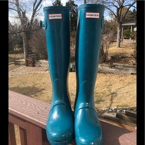 Ocean Blue Hunter Tall Gloss Rainboots